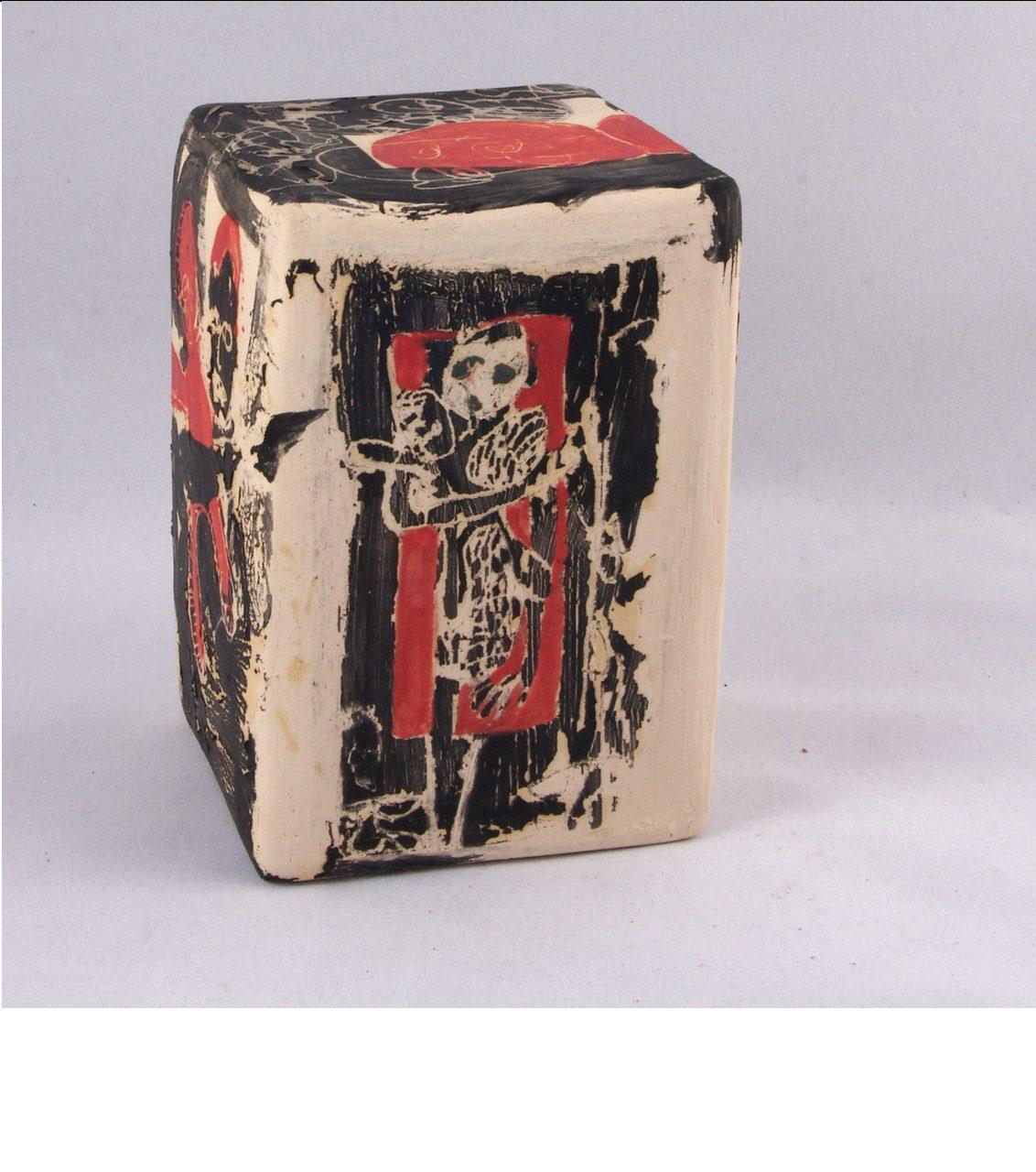 L'ABSENT , 2014 céramique - engobe - émail et cire (13x9x9cm)   -  Inv. 00147 (+) DÉTAILS