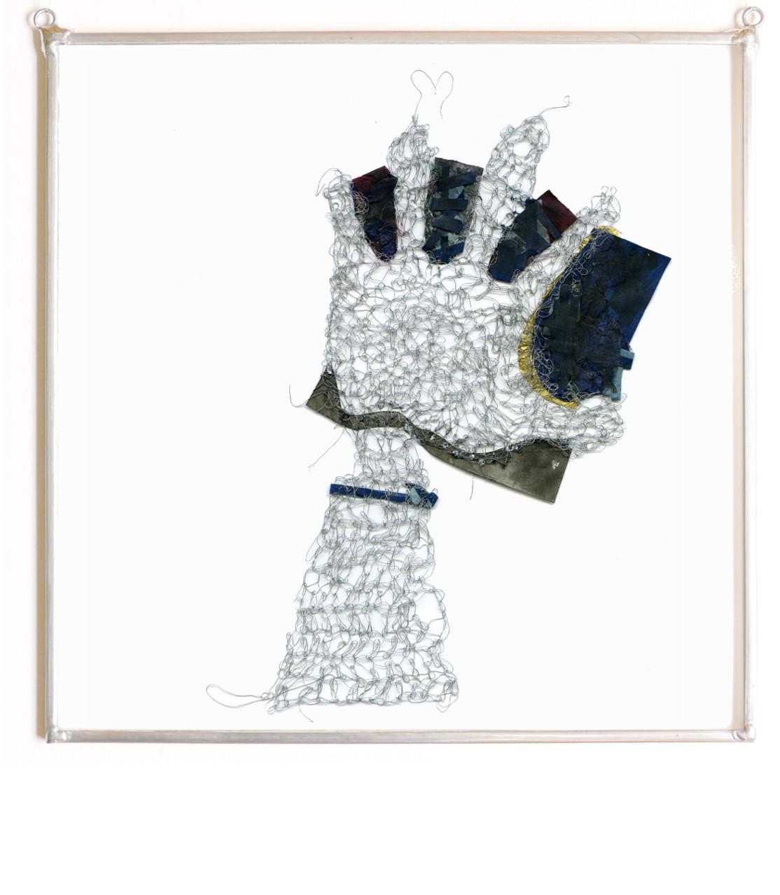 FEUTRE, 2016 Broderie d'acier et papier (25X25cm) - Inv. 00161 (+) DÉTAILS