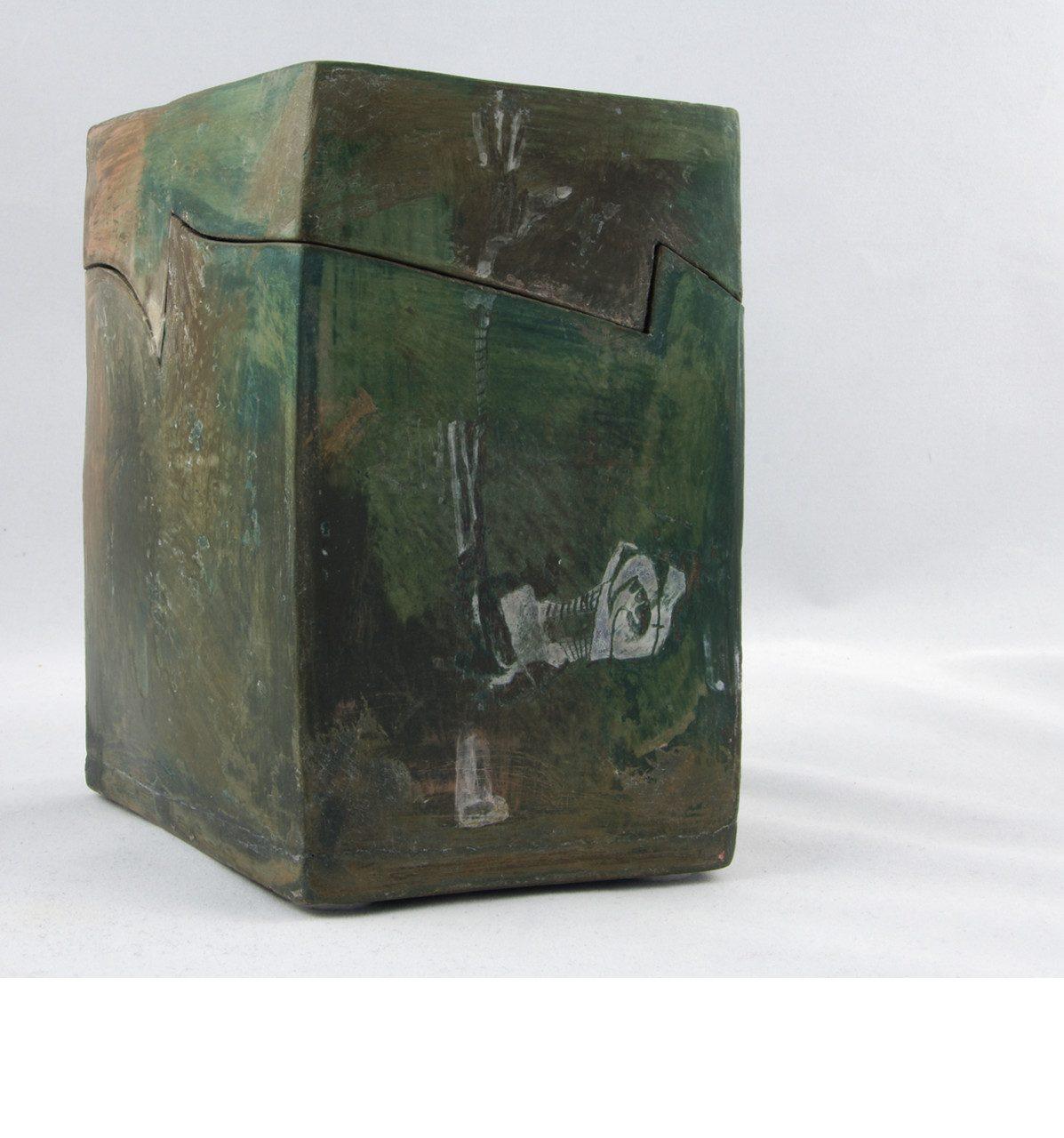 FÉLINE, 2016 céramique - engobe - émail et cire (15.5x13x12cm) - Inv. 00111 (+) DÉTAILS