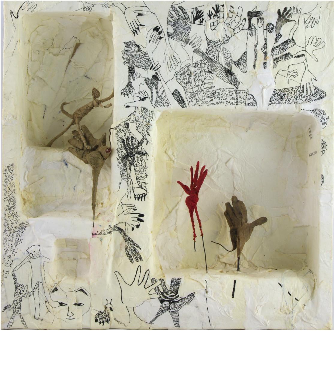 CONTACTS, 2014 boîte papier mâché (28x28x5cm) - Inv. 00034 (+) DÉTAILS