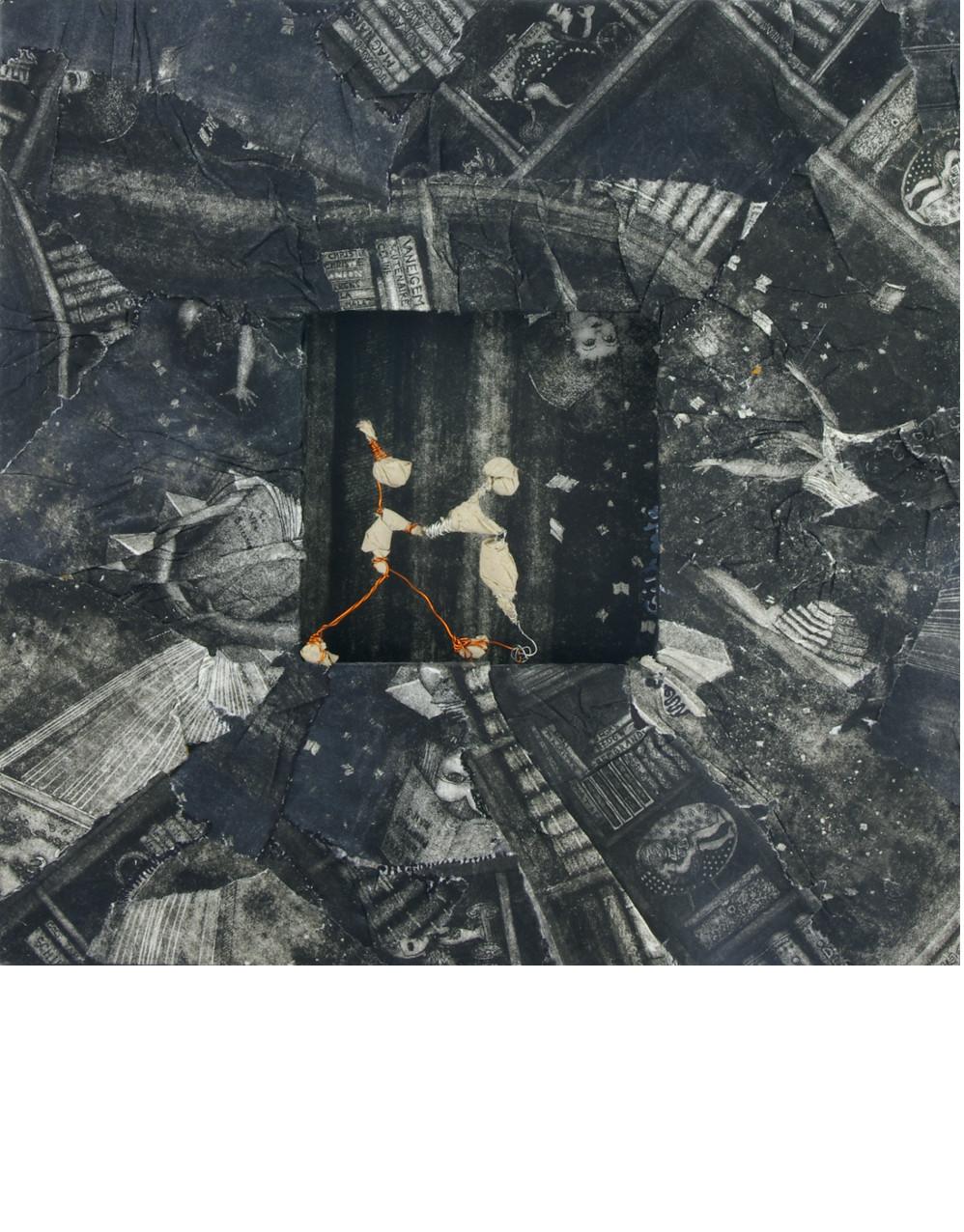 BORDER LINE, 2014 Cadre recouvert de repenti de gravure (25x25cm) - Inv. 00056 (+) DÉTAILS