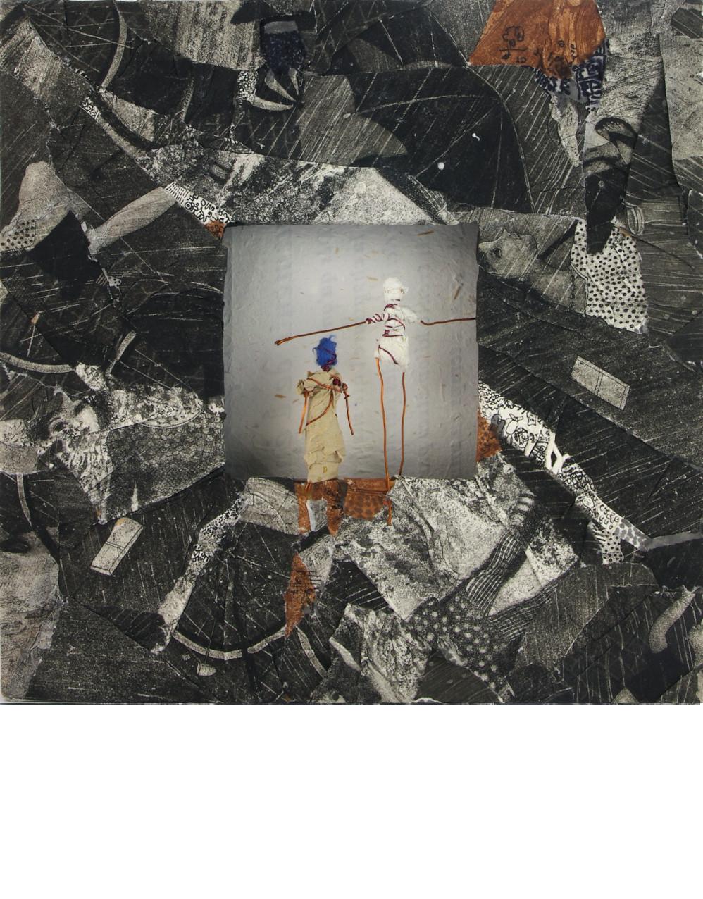 ENTRE GENERATION, 2014 Cadre recouvert de repenti de gravure (25x25cm) - Inv. 00058 (+) DÉTAILS