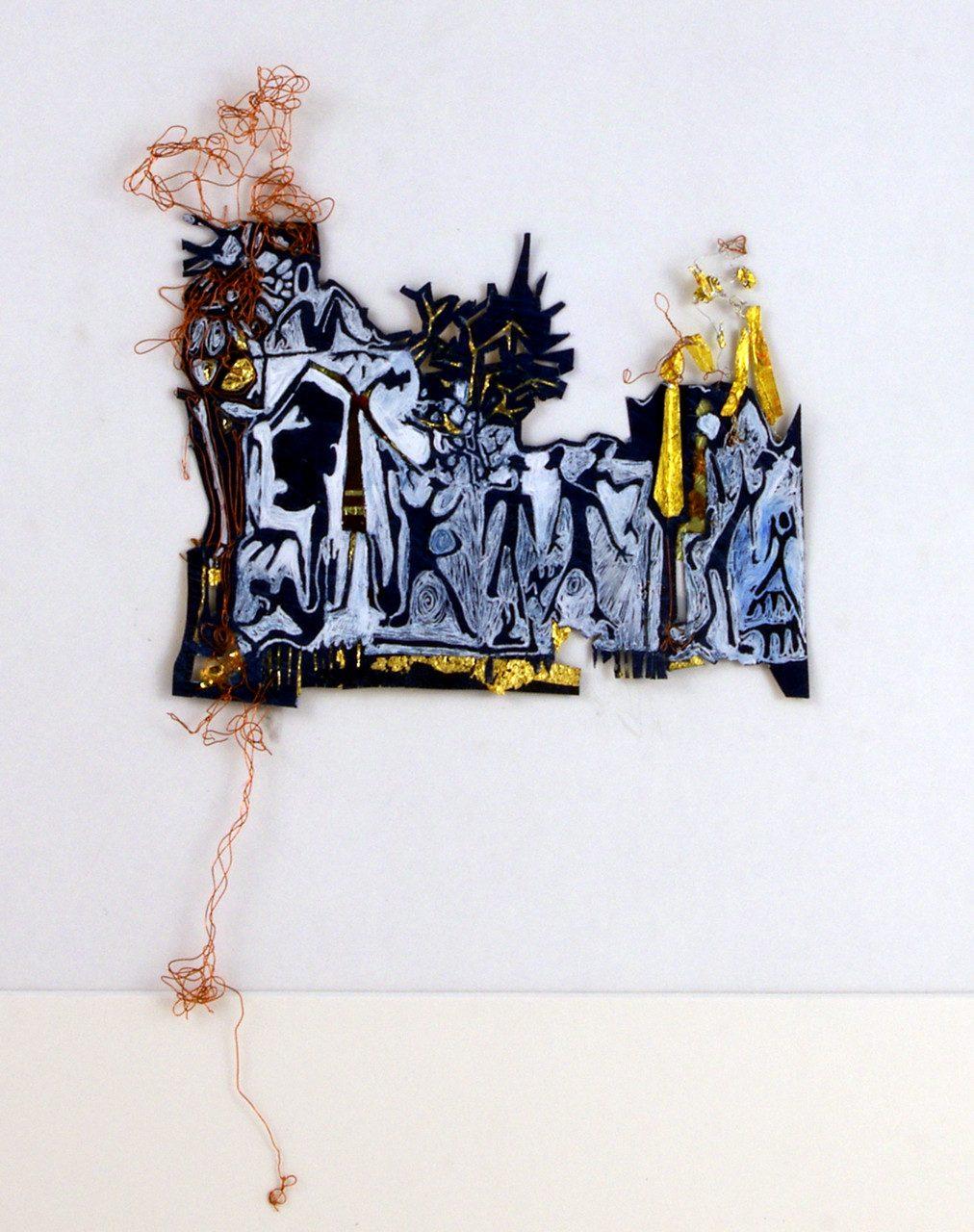 POURQUOI  SARAH, 2016 encre, or et feutre sur papier découpé (30x30cm) - Inv. 00162 (+) DÉTAILS
