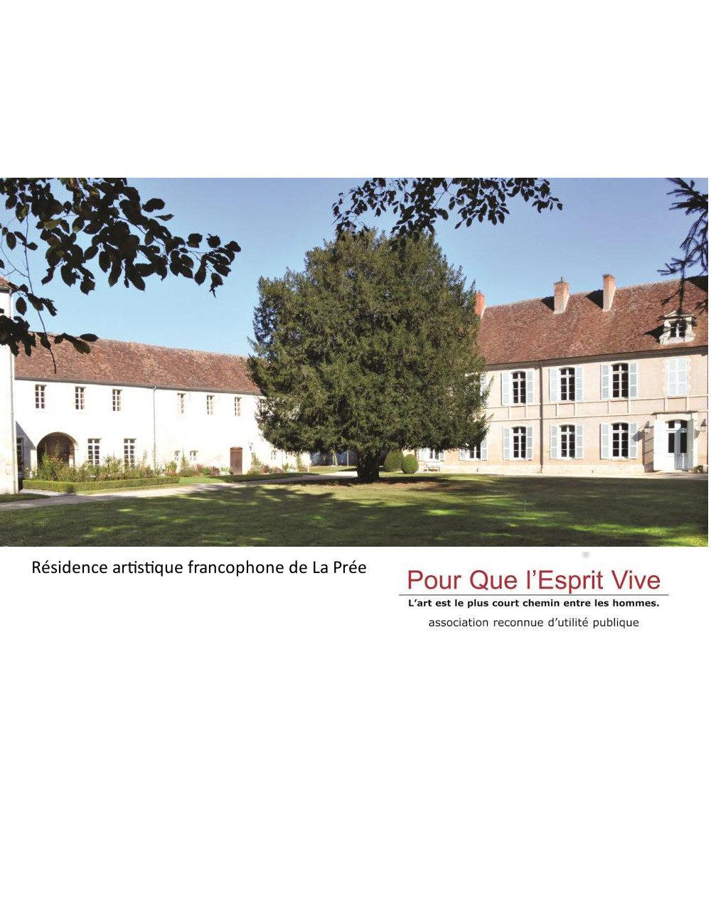 2018 – 2019 Résidence artistique francophone de La Prée